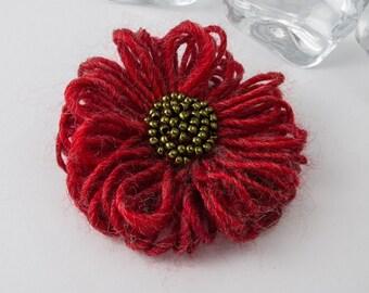 Red Beaded Flower Brooch