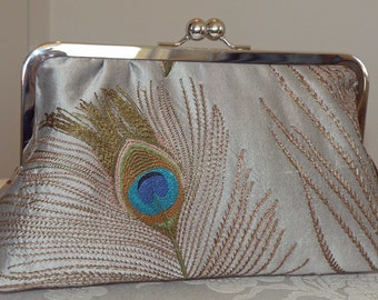 Peacock Feathers Embroidered Silk Clutch/Purse Silver w/ Breezy Navy lining...Free Monogramming..Bridal Wedding Gift