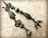 Long asymmetrical earrings, vintage inspired with dark brass and verdigris patina