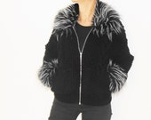 ZIP-FRONT knit CARDIGAN Black 2-Pocket Cablehand Women's Handknit with faux fur trimmed collar and cuffs
