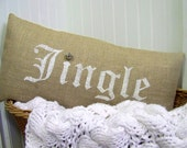 Jingle burlap pillow cover - jingle bell - christmas pillow - lumbar - jingle pillow - christmas pillows - burlap christmas -rus