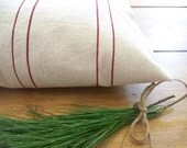 red stripe grainsack vintage style pillow cover - canvas - natural - red stripe pillow - rustic pillow - farmhouse - christmas d