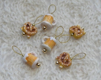 Beer and Pretzels Knitting Stitch Markers - snag free - ceramic beer mug  and pretzel beads - set of 6 - three loop sizes available