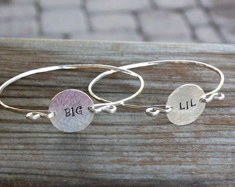 Big Sis Lil Sis Bracelet, Sterling Silver Bangle Bracelet - Greek Jewelry, Sorority Jewelry, Sorority Bracelet Big Little Jewelry