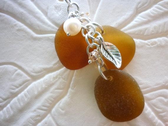 Sea Glass Necklace: Cluster Beach Seaglass Pine Cone