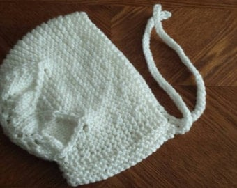 Flower top Bonnet -12 month size -hand knit -off white -cream colored