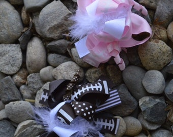 Football Maribu Hair Clip bow for Girls, Toddler, Baby