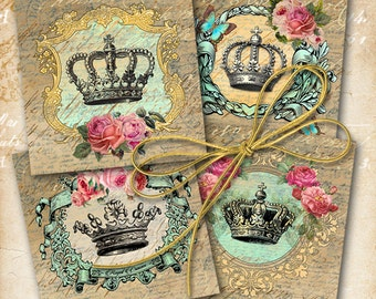 3.8x3.8 inch size Images CROWNS AND ROSES Digital Collage Sheet Printable download for coasters greeting cards and tags Art Cult graphics