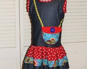 Chambray Dress with Ruffles and Appliqued Purse