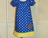 Handmade Peasant Dress with Gold Fish Embroidery