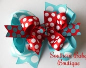 NEW----Big Boutique Doubled Layered Hair Bow Clip---Summer Splash----Aqua and Red----