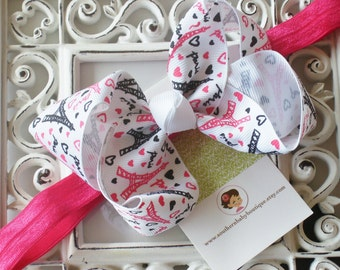 INVENTORY BLOWOUT SALE---Boutique Large Hair Bow Clip and Headband----I Love Paris Eiffel Tower----Ready to Ship