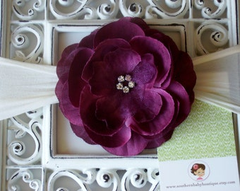 NEW----Boutique Baby Girl Nylon Headband with Rhinestone Rose Flower----Wine and Cream----Bella Collection