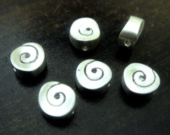 2 Sterling Silver Spiral Beads, 925 Contemporary Silver bead - 7mm, Hole 1mm