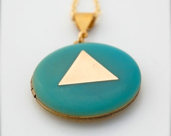 Locket Necklace Geometric Triangle on Turquoise Teal Blue Brass