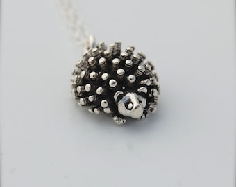 Miniature Tiny Hedgehog Sterling Silver Charm Necklace Animal Jewelry Charms Hedgie Unique Unusual Charms Necklaces