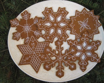 Snowflake Gingerbread Cookies/ Christmas Tree Ornaments /Holiday Bowl Fillers
