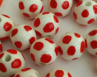 20 Red and White Polkadot handmade Porcelain beads - 12mm