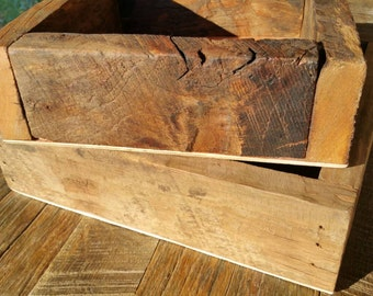 "Reclaimed and Recycled Barn Wood Square 10"" Cherry Barn Wood Window Box, Center Piece or Planter FREE SHIPPING"