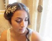 Wedding headpiece, Bridal tiara, Wedding headband, Swarovski crystal headpiece, Antique brass leaves headband, Grecian head crown, Vintage