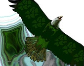 Bald Eagle Art, Native American Totem Animal, Flying Bird of Prey, Southwestern Home Decor, Green Wall Hanging, 8 x 10, Giclee Print