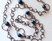 Beaded Chain Steel Chain with Blue Polymer Clay Beads