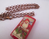 Jolly Old St. Nicholas Wire Wrapped Bamboo Tile Necklace