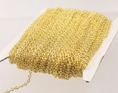 Gold Plated Cable Chain Bulk, 50 ft of Round Cable Chain 3x2mm 0.6mm wire - Unsoldered - Necklace DIY Bracelet Wholesale Jewelry Chain