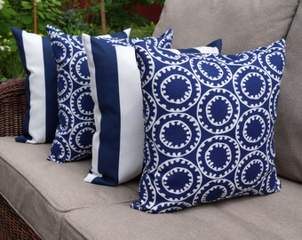navy outdoor pillow ring a bell navy and deck stripe navy geometric outdoor throw pillows