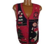 Ugly Christmas Sweater Vintage 1980s Tacky Holiday Cardigan Vest Party Women's size P L