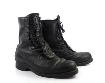 Black Combat Boots Vintage 1970s Pilot Aviation Short Lace up Boots Leather men's size