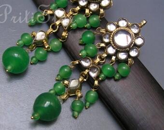 Dangle Earrings . Peking glass Long Statement Jewelry