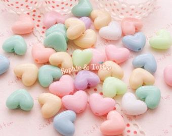 Chunky Pastel Heart Beads (13mm x 11mm) / Pastel Beads / Acrylic Heart Beads - 50g (82pcs approx.)