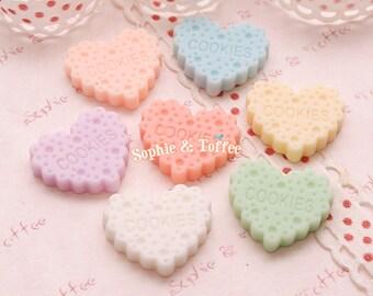 Pastel Heart Cookies Resin Cabochon / Decoden Pieces / Kawaii Decoden - 7pcs