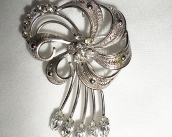vintage Cal Art Sterling Silver marquis & round prong set rhinestone floral filigree Brooch