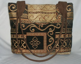 Purse Medium-Sized Shoulder Bag Medium Sized Flap Tapestry Celtic Knots Black Gold Brown Double Straps Pockets