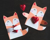 Woodland Fox birthday party candy holders printable DIY party favors cute fox hug for individual candy or suckers kids part classroom party
