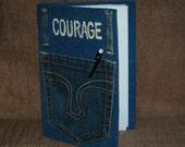Journal Denim Pocket ~ COURAGE ~ Blank Pages ~ Handmade