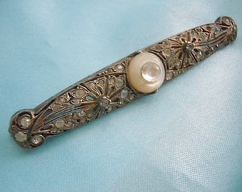 SALE Rare STERLING Silver VICTORiAN Rhinestone Blister Pearl Bar Pin Brooch .925 FREE Shipping