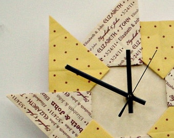 Colorful 1st Anniversary/ Wedding Wall Clock - Yellow with Dots
