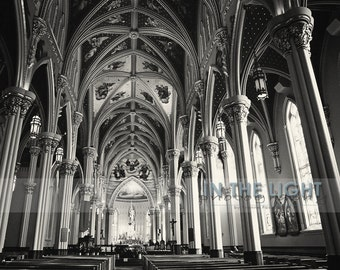 Interior of Notre Dame Sacred Heart Basilica 2 - Fine Art Photography - Black & White or Color