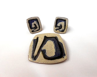 Modernist Bronsted Denmark Enamel Brooch, Earrings, Abstract, Blue, Gray, Cream