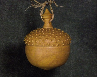 Ceramic acorn ornament, ooak