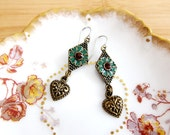Victorian Boho Rhinestone & Heart Drop Earrings New item