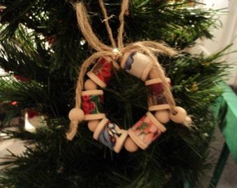 Wood Spool Wreath Ornament