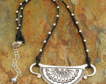 Irish Linen Hill Tribe Sterling Silver Necklace - Spirit Fan
