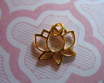 LOTUS Pendants Charms, Sterling Silver or 24k Gold Vermeil LOTUS Flower Outline, 11x11 mm Small Lotus, Bali yoga  art only sl