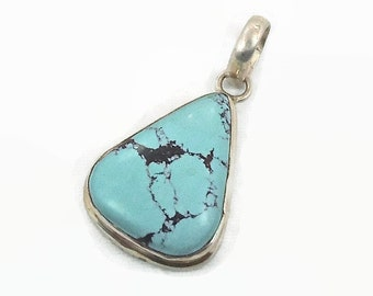 Turquoise Pendant, Sterling Silver, Vintage Pendant, Big Stone, Blue Pendant, Boho Bohemian, Robins Egg Blue, Modern, Contemporary