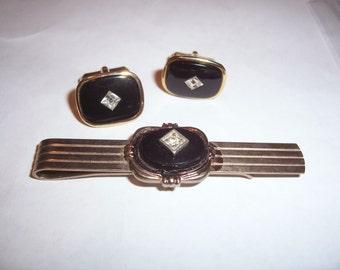 Vintage Black Onyx Cuff Link and Tie Clip Set