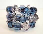 CHRISTMAS GIFT Sale OOAK Deep Blue and Gray Chunky Coil Bracelet by Debbie Renee